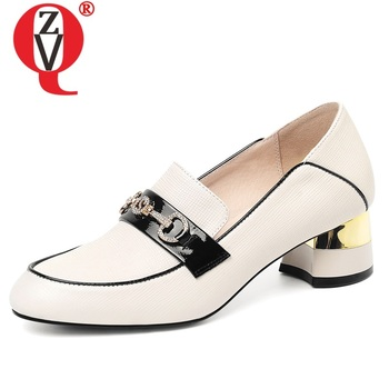 ZVQ spring new fashion women pumps outside mid heels round toe handmade genuine leather women shoes drop shipping size 33-43