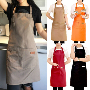 Pure Color Adjustable Shoulder Strap Kitchen Apron Waterproof And Antifouling Bib For Kitchen Baking Barbecue Cooking 1
