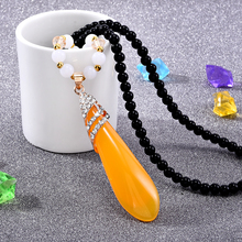 Stone Beads Stone Long Tassel Retro Ethnic Beaded Necklace Sweater Chains Jewelry Long Statement Necklace