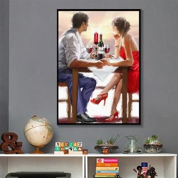 Couple Rain Umbrella Oil Paintings Printed on Canvas 6
