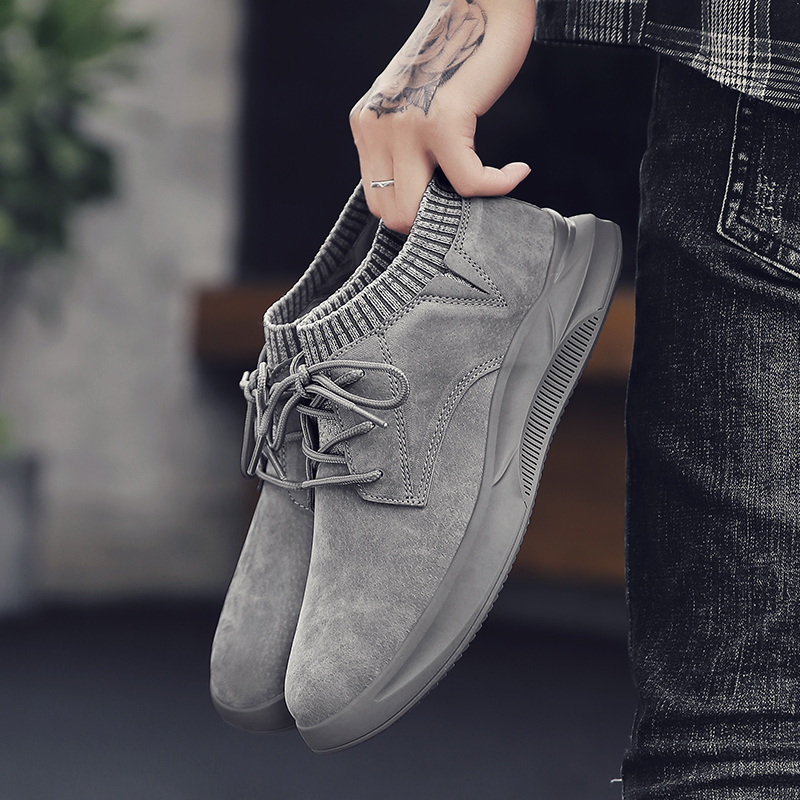 Men's Casual Shoes Suede Leather Men Loafers Flat Breathable Socks Shoes Moccasins High Quality Fashion Designer Style Sneakers