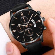 Men Luxury Leather Watch Fashion Faux Chronograph Calendar Q