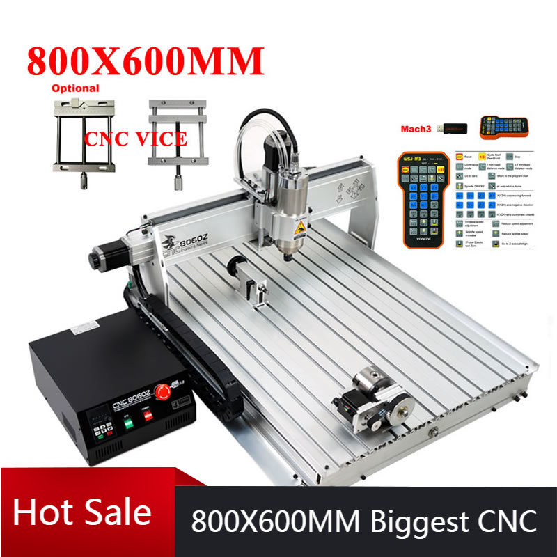 CNC Router Machines 8060 Metal Engraver Wood Milling Machine 4Axis USB Port 2200W 1500W Water Cooling Spindle Mach3 ER11 ER16