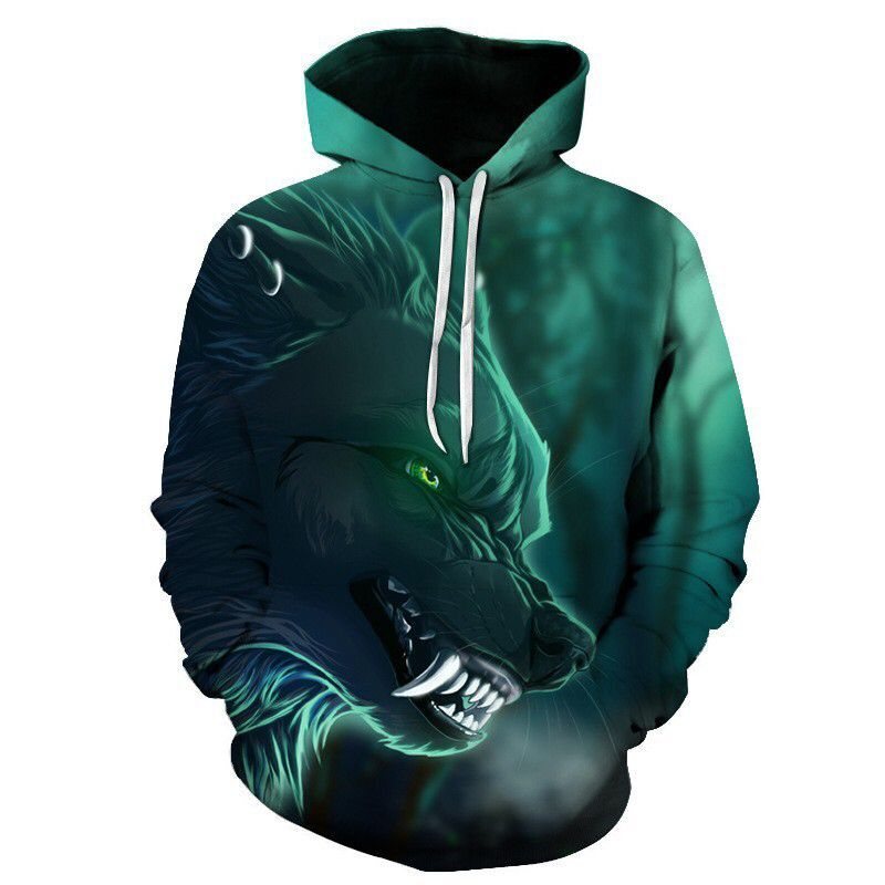 2019 New Design Mens Hoodies 3D Print Wolf Hoodie Man Fashion Brand Casual Hoodie Sweatshirt Hip Hop Male Hoody Tracksuit Autumn