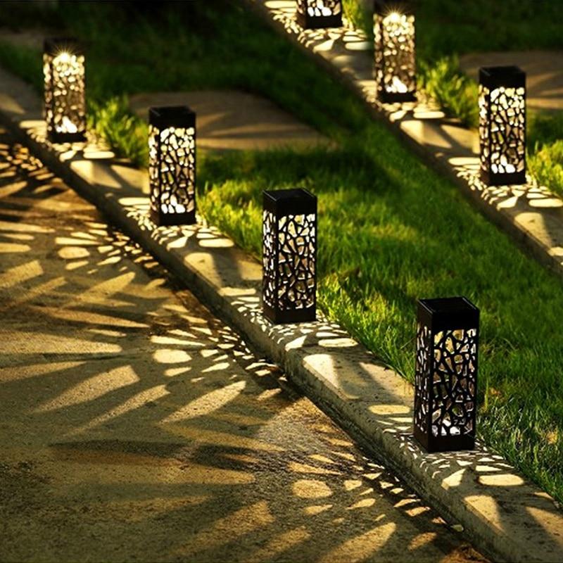 8 pces luzes solares do caminho do diodo emissor de luz luzes solares exteriores do jardim luzes solares da paisagem para o gramado