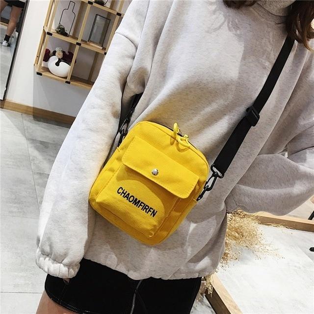 Women Shoulder Bag Fashion Pure Color Casual Tote Outdoor Bag Canvas Handbag Zipper Messenger Messenger Bags Sac Main Femme 2