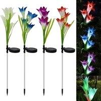 Al aire libre de luz Solar LED RGB Color Lily flor impermeable decorativo lámpara de energía Solar patio, césped porche Luz de calle