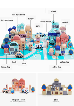 133PCS Wooden City Stacking Blocks Shape Assembled Building Blocks Early Educational Toys For Children