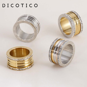 Dicotico Multiple Color Stainless Steel Bague Femme Cubic Zircon Wedding Rings For Women Roman Numerals Anillos Mujer Jewelry