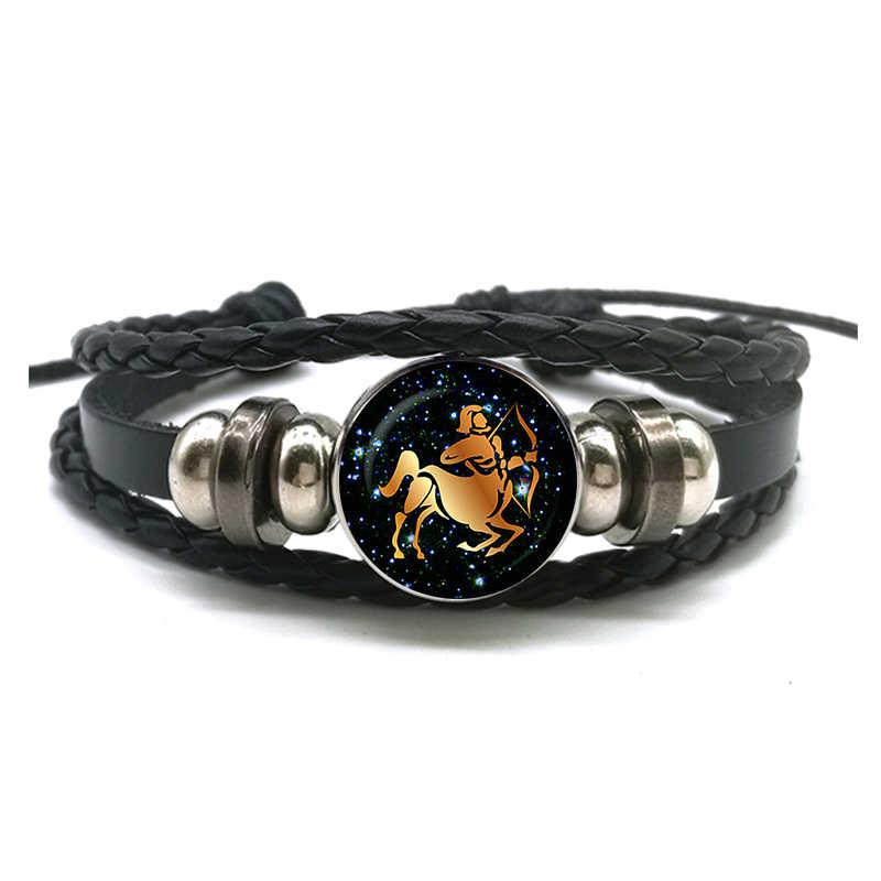 12 znaki zodiaku skórzana bransoletka dla kobiet mężczyzn Virgo Libra skorpion baran Taurus plecione bransoletki urodziny prezent hurtownie