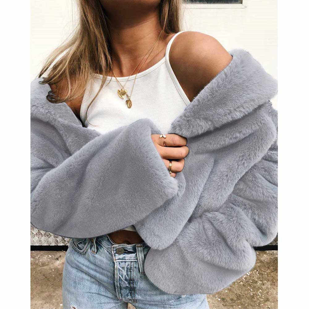 Women Faux Fur Coat Winter Keep Warm Solid color Outerwear Loose Fur Coat Plush Outwear teddy jacket veste fourrure femme Coat