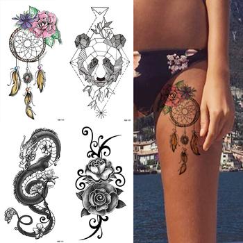 Wodoodporna tymczasowa naklejka tatuaż Dreamcatcher kwiaty miłość Flash tatuaże niedźwiedź róża tatuaże do ciała ramię fałszywy rękaw tatuaż kobiet tanie i dobre opinie MANZILIN 21x11 4cm TQB145 Tymczasowy tatuaż