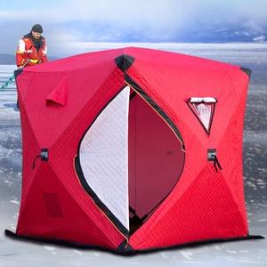 Трехслойная хлопковая теплая зимняя палатка для рыбалки на льду 3-4 человека, туристическая палатка для отдыха на природе для зимней рыбалки...