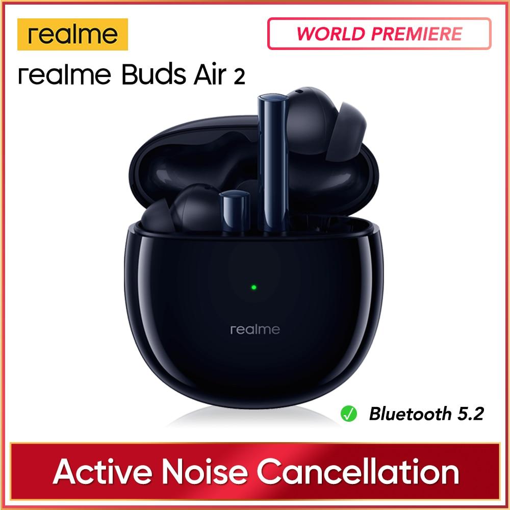 Realme бутоны Air 2 ANC Беспроводной наушники 88 г-жа Супер низкая задержка 25 ч воспроизведения игровая музыка Спорт Bluetooth наушники действительный ...