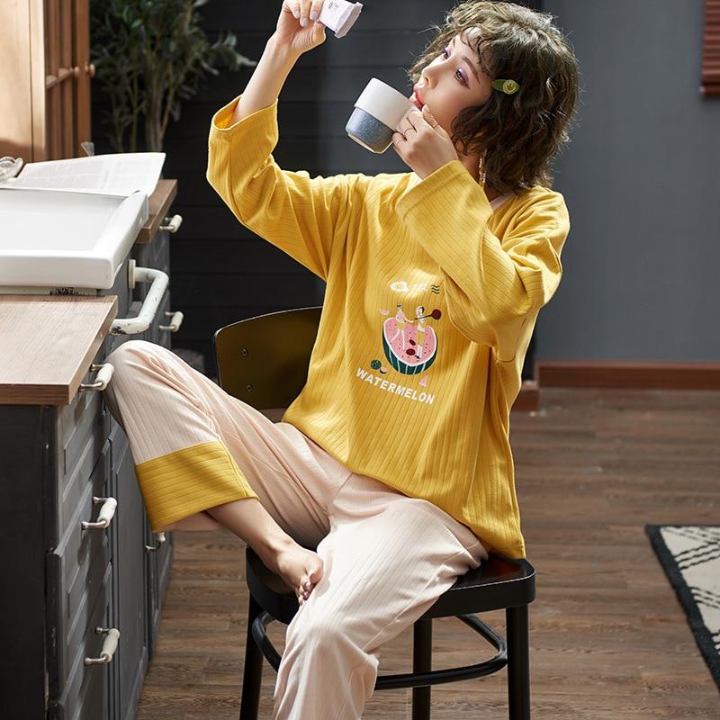Soft Women Pajamas Set Home Clothes Long Sleeve  Winter Autumn Sleepwear 2PCS Nightwear Bathwear Pyjamas Cute Yellow Homewear