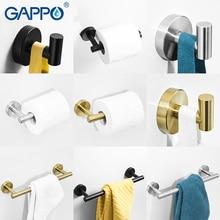 GAPPO Gold Black Bathroom Hardware Set Robe Hook Single Towel Bar Paper Holder Accessories Y38124-2