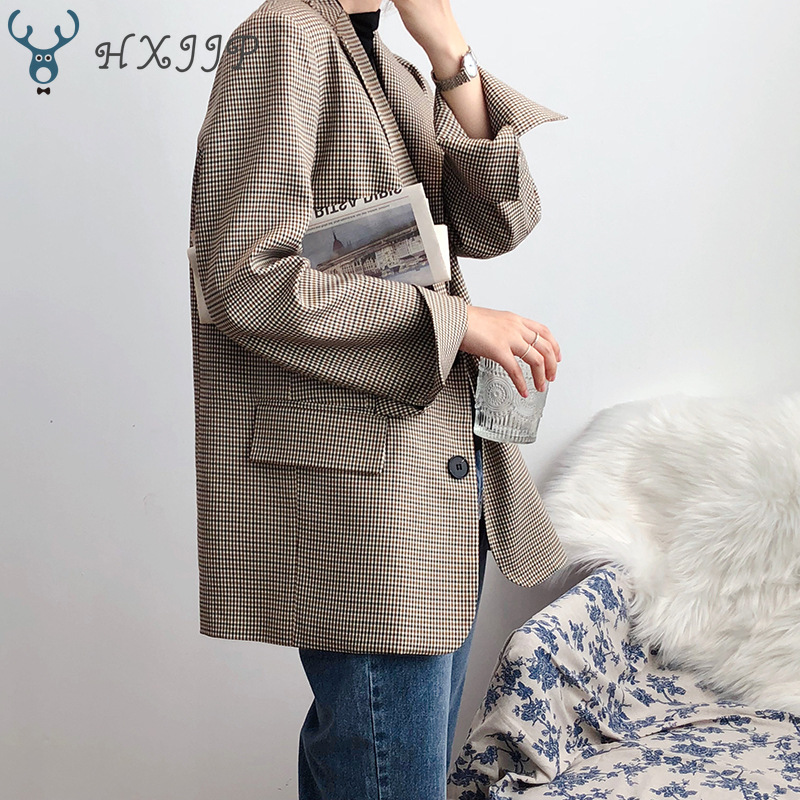 HXJJP Women's Plaid Blazer Spring Autumn 2020 New Single Breasted  Korean Loose Long Sleeve Fashionable Suit Top Office Lady
