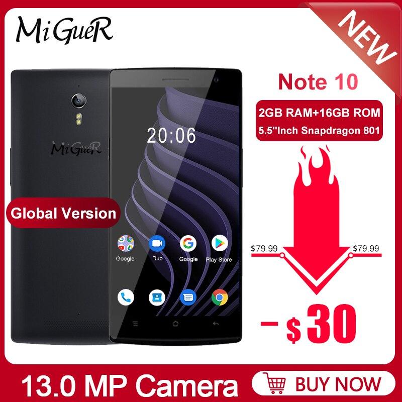 MiGueR Note 10 4G Smartphone 5.5''HD 2GB RAM 16GB ROM Snapdragon 801 Quad Core 13MP+5MP 2800mAh NFC OTA OTG GPS LTE Mobile Phone
