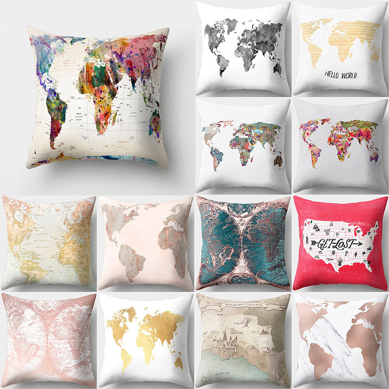 Inches Watercolor Vintage Style Cushion Cover world map Pattern 45 45cm Square Throw Pillows Covers Car