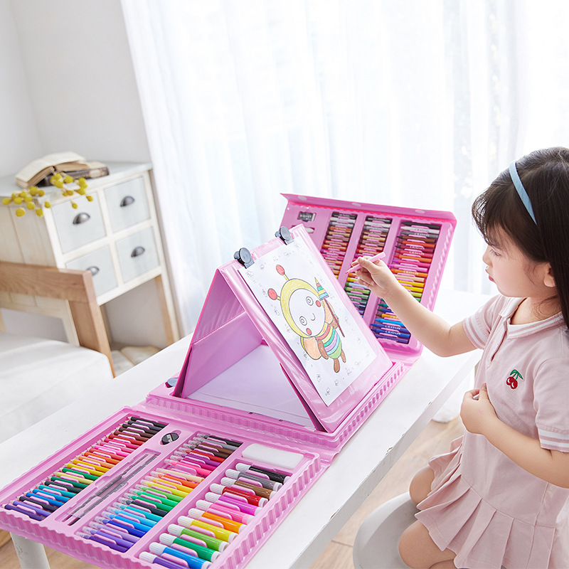 208 PCS Kid Draw Set Colored Pencil Crayon Watercolors Pens Drawing Set Toy Art Marker Oil Pastel Painting Kid Gifts