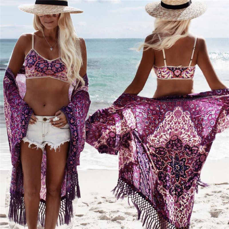Baru Kedatangan Beach Cover Up Bunga Romantis Baju Renang Wanita Daoble Pantai Cape Ungu Rumbai Pantai Gaun Sifon Baju Renang # Q149