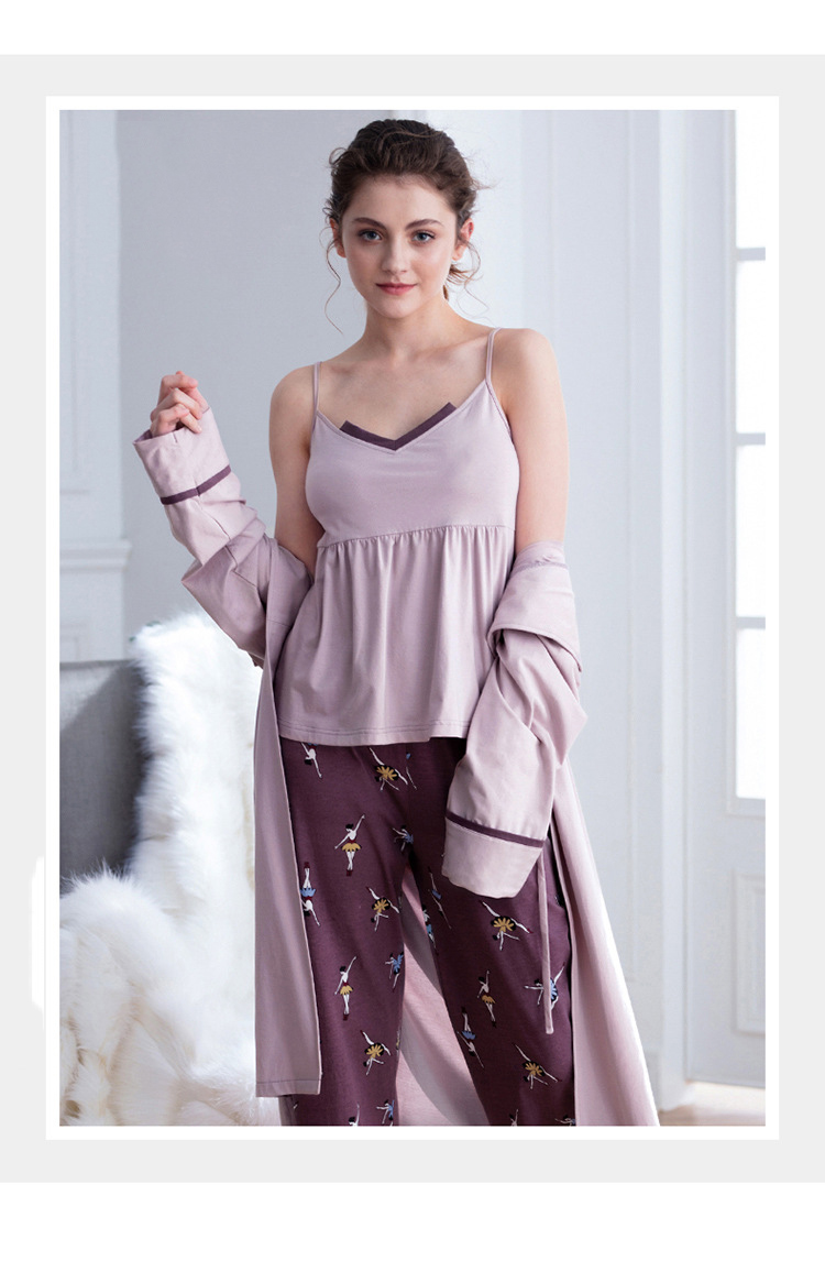 Cotton Pajamas Autumn Winter Women's Warm Casual 3 Piece Set Solid Color Sling Printed Trousers Lapel Long Nightgown Women's 31
