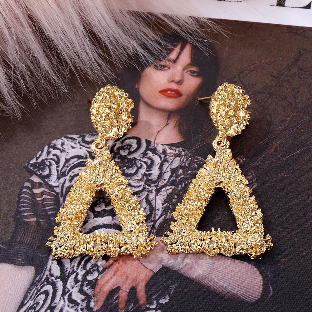 VKME Fashion Oversize metal Earrings For Women Girls Brinco Big Hoop Earrings Circle Earring Statement Geometric Fashion Jewelry 3