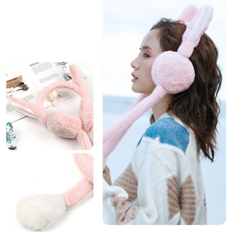 Adult Kids Winter Plush Headband Earmuff With Cute Moving Airbag Bunny Ears Gift C6UD