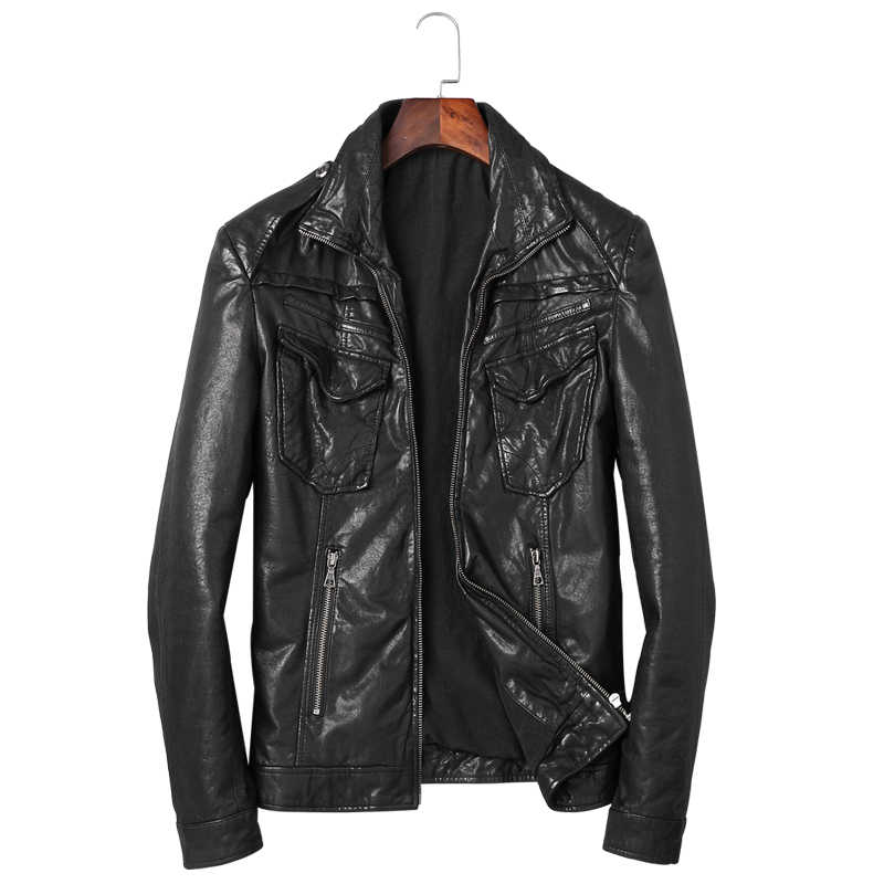 High Quality Mens Goat Leather Jacket Motorcycle Real Genuine Leather Coat Men Vintage Fashion Cool Jacket Vintage Leather