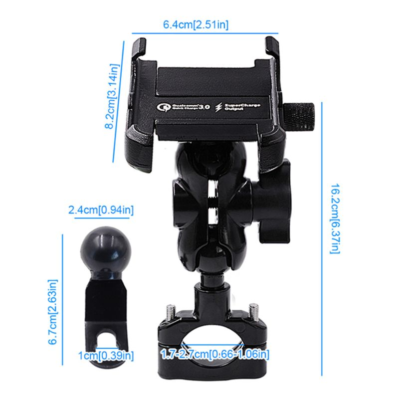 Waterproof Metal Motorcycle Smart Phone Mount With QC 3.0 USB Quick Charger Motorbike Mirror Handlebar Stand Holder