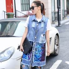 2020 New Autumn Summer Sequined Denim Vest Women Long Denim Vest Hole Ripped Sleeveless Jeans Jacket Plus Size S-3XL RQ545(China)