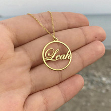 Custom Circle Round Name Necklace Women Men Personalized Nameplate Collares Choker Necklaces Pendents Jewelry Accesorios Mujer personalized multiple name necklace women men collares mujer family necklaces pendents custom jewelry gold chain choker kolye