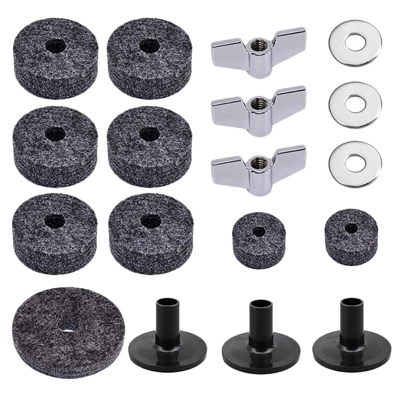 18Pcs Drum Set Cymbal Replacement Parts Accessories(3Pcs Cymbal Sleeves +3Pcs Wing Nuts +3Pcs Washers +9Pcs Wool Felt Pads)