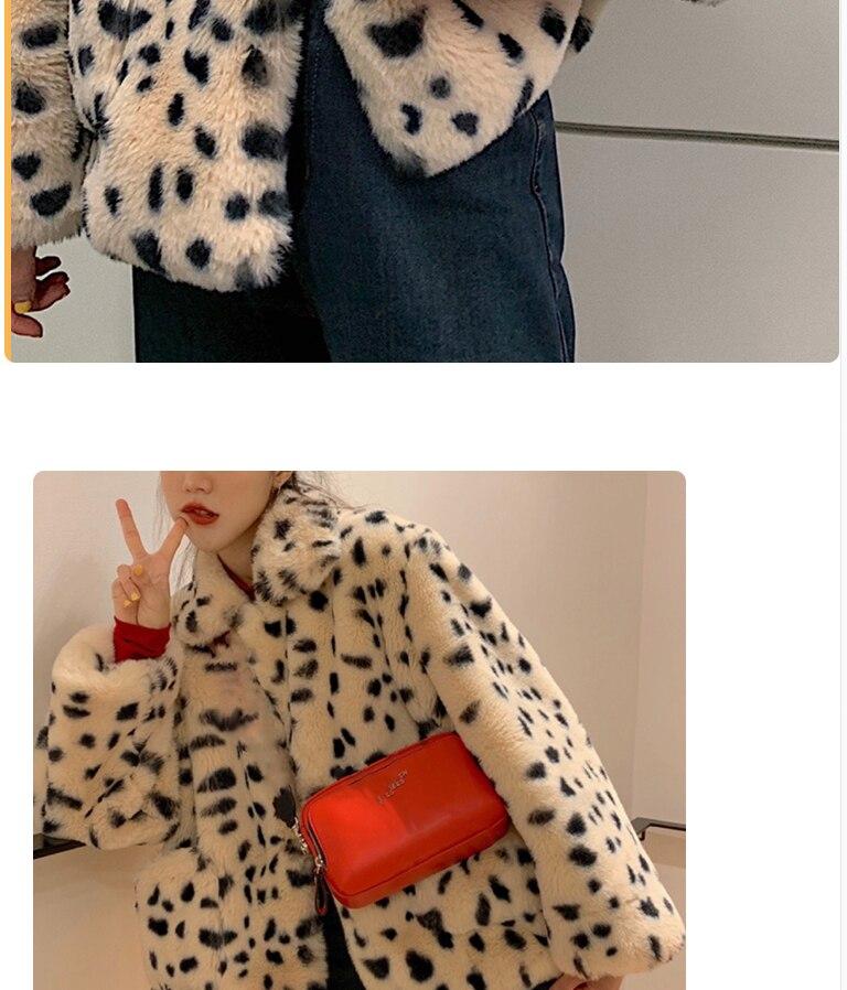 Hea9f1911b9204cb8a730d02feff3243f7 Plush jacket women winter short 2021 new Korean version of loose lamb wool faux fur leopard print fur coat women winter