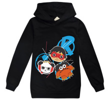 цены на Boys Hoodies Cartoon Print Striped hoodies Cotton For Kids Clothing Girls Tops with Mask Clothes  в интернет-магазинах