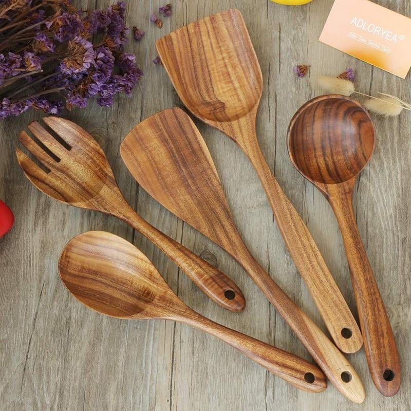 Natural Kitchen Cookware Set Teak Shovel Spoon Kitchenware Non-stick Natural BE