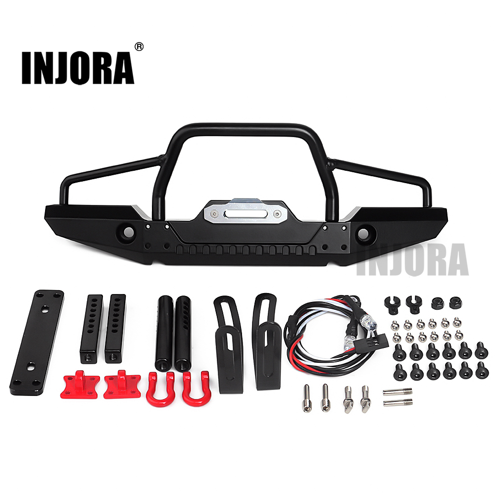 INJORA 1:10 RC Rock Car Metal Front Bumper With Led Light For Axial SCX10 90046 90047 Traxxas TRX-4 RC Crawler