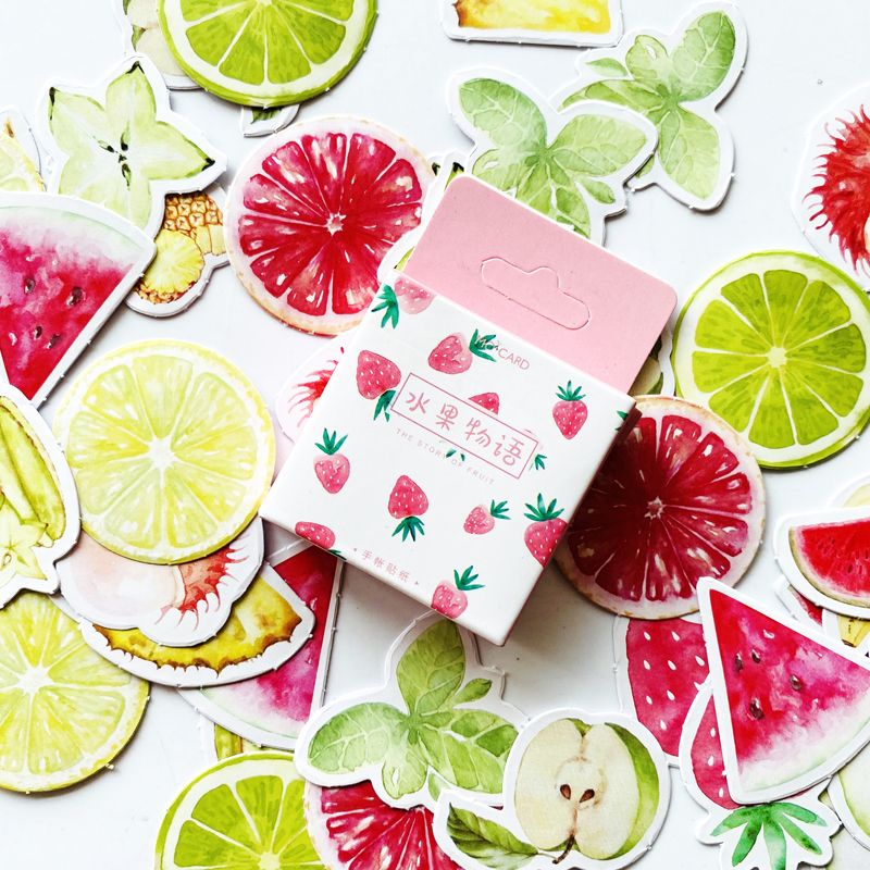45pcs/Pack Cute The Story Of Fruit Summer Fruit Stickers Scrapbooking DIY Diary Album Stick Label Decor Stationery