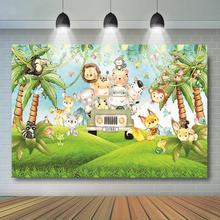 цена на Safari Backdrop Safari Wild One Baby Shower Birthday Decoration Jungle Woodland Animal Background