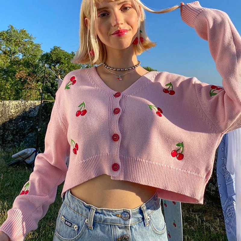 Autumn Fall Crop Top Jacket Women Coat Knitted Sweater Jumper Cardigan Button Up Sweet Cute Cherry Embroidery Elegant Chic Tops image