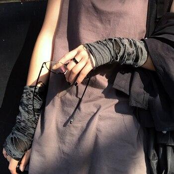 Punk Black Broken Slit Gothic Unisex Glove Fingerless Cuff Ninja Sport Hole Mitten 2021 Cool Women Men Hollow Out Rock Gloves 9