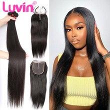 Luvin 28 30 32 40 Polegada em linha reta tecer cabelo humano brasileiro 3 4 pacotes com e 4x4 fechamento do laço remy cabelo longo
