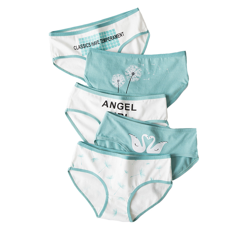New 4pcs Teenage Flamingos Underpants Young Girl Briefs Comfortable Cotton Panties Kids Underwear Green Girl Underwear