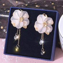 Fairy series fairy gas handmade transparent flower earrings female Korean temperament long tassel korean