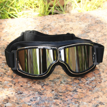 Universal Vintage Motorcycle Goggles Pilot Motorbike Scooter Biker Glasses Helmet Goggles Foldable For motorcycle atv riding scooter driving flying protective frame clear lens portable vintage helmet goggles glasses for 2009 buell xb12r