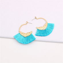 CRLEY Bohemian Fan Shaped Tassel Earrings for Women Blue Gray Red Pink Lady Female Fringe Handmade Vintage Dangle Drop