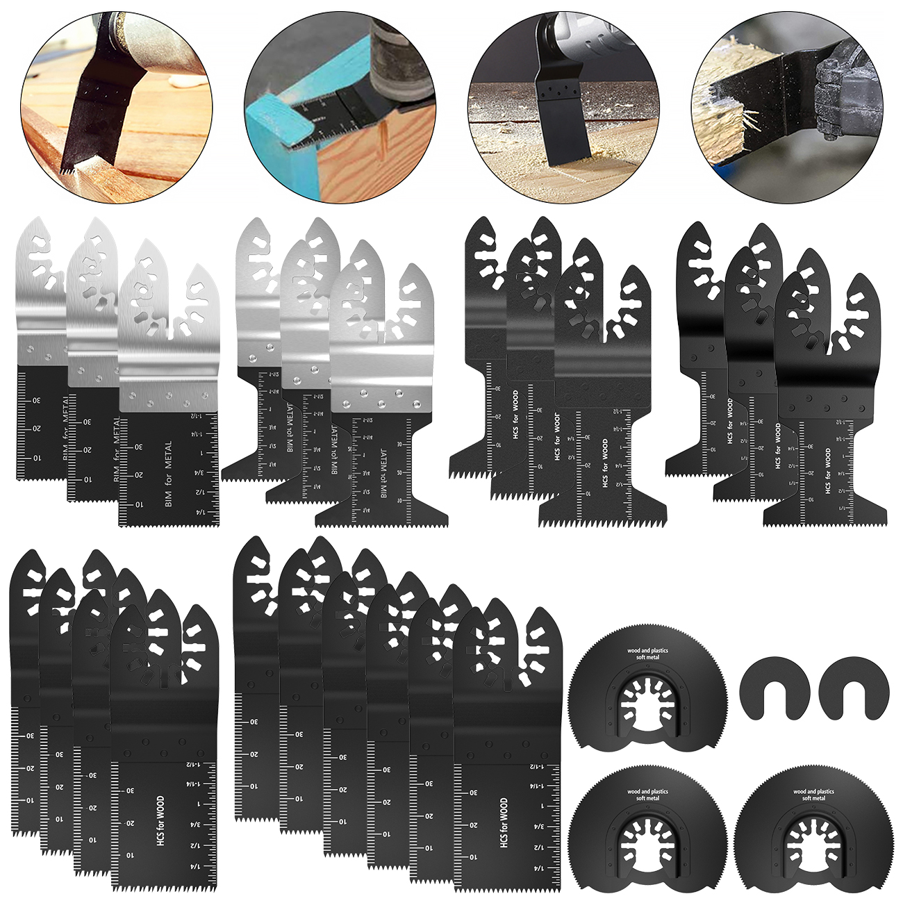 27Pcs Multi-Function Bi-metal Precision Saw Blade Oscillating Multitool Saw Blade For Renovator Power Cutting Multimaster Tools