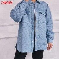 Tangada-Parkas vaqueras azules para mujer, chaqueta holgada de manga larga con bolsillo, abrigo elegante para otoño e invierno, 6W04, 2021