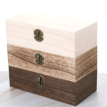 2021 New Retro Jewelry Gift Box Desktop Natural Wood Clamshell Storage Hand Decoration Wooden Box Postcard Storage Box