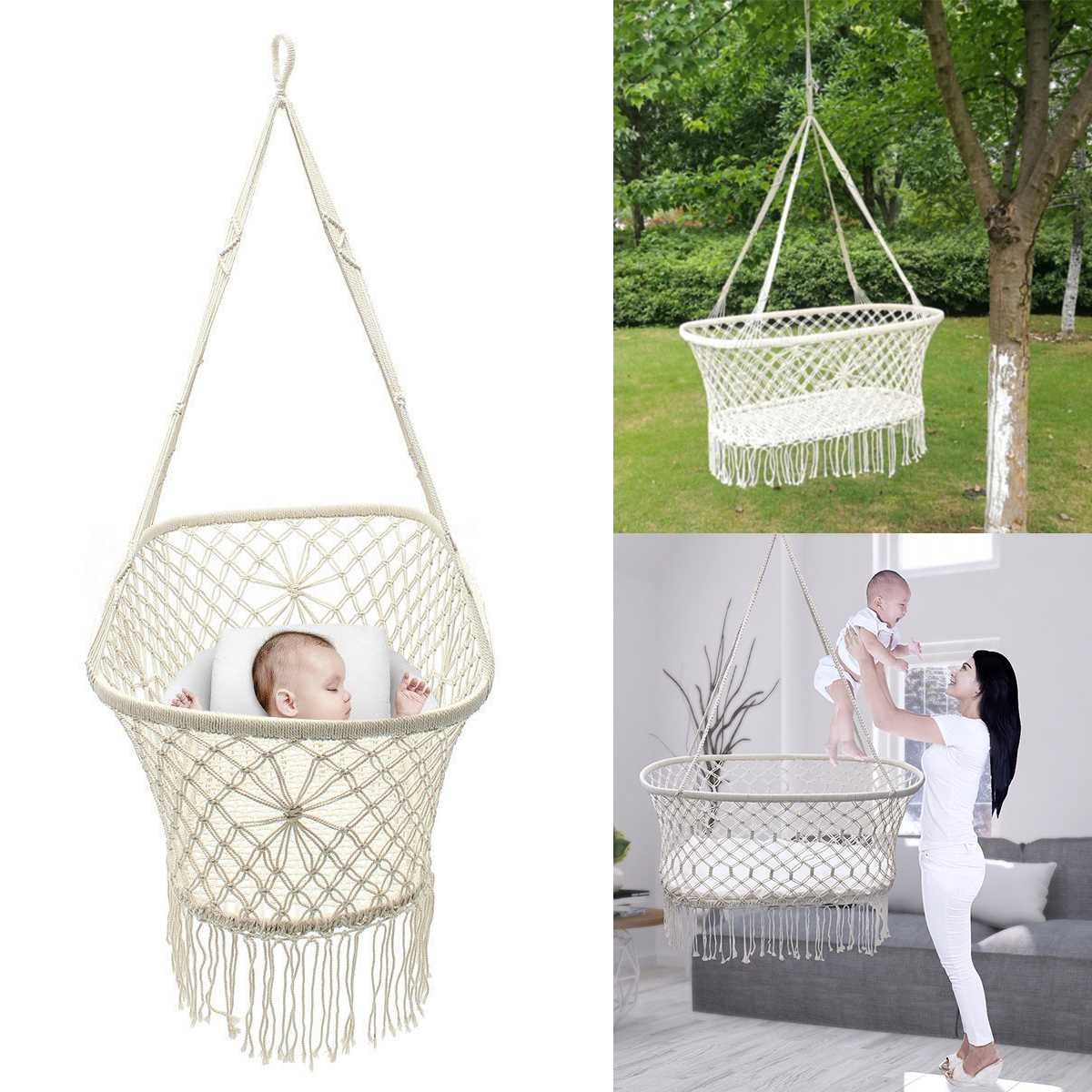 White Cotton Baby Garden Hanging Hammock Baby Cribs Cotton Woven Rope Swing Patio Chair Seat Bedding Baby Care 90*45*35cm